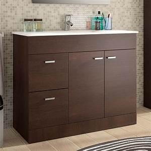 meuble salle de bain 100 cm plan vasque porcelaine wenge With meuble vasque 100 cm salle bain