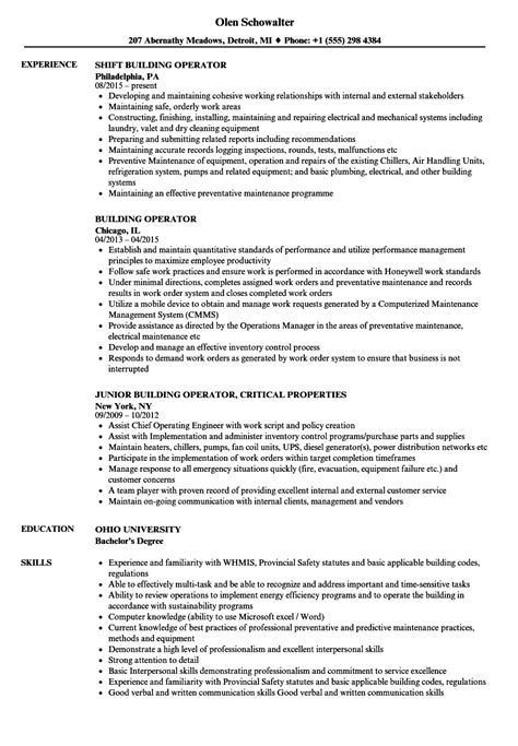 Building Resume by Building Operator Resume Sles Velvet