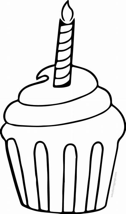 Cupcake Coloring Candle Cake Cup Pages Candles