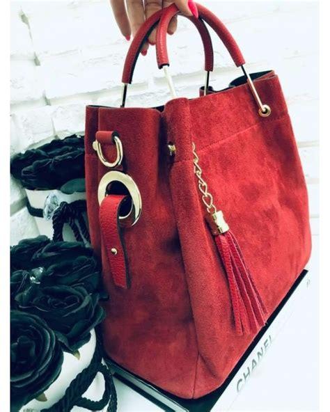 Włoska torebka zamszowa duży kuferek z frędzelkiem a'la LV ...