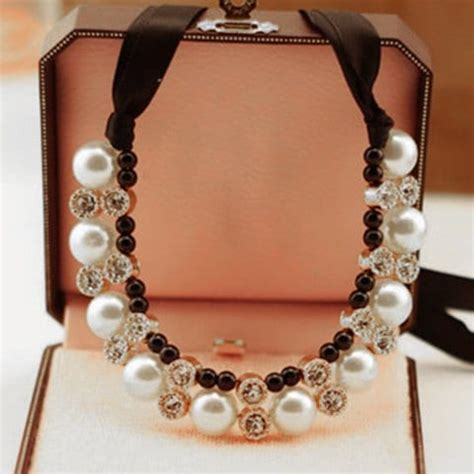 gorgeous chic style pearl  rhinestone decorated black ribbon necklace  women  color