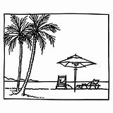 Tropical Paradise Summer Beached Coloring Pages Beach 1000 Clip Colouring sketch template
