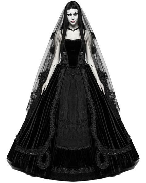 Punk Rave Gothic Wedding Dress Long Black Velvet Steampunk