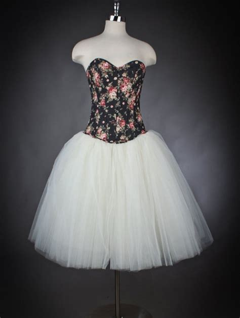 floral  white romantic gothic corset prom dress