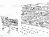Grocery Sketch Interior Coloring Graphic Bread Cartoon Russia sketch template