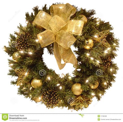 christmas wreath stock photo image  lights fancy