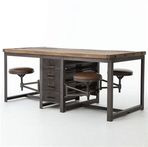 orient express furniture rupert industrial architect work table desk with attached