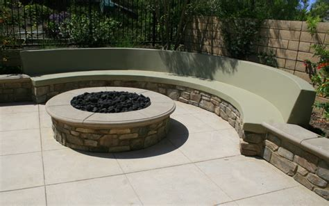 built in outdoor pit fire pit and built in seat wall