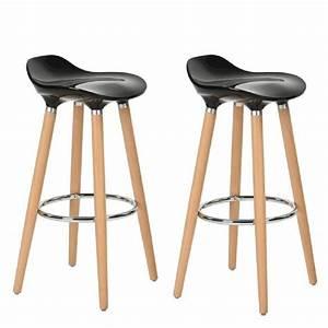 Furniturer lot de 2 tabourets de bar cuisine scandinaves for Deco cuisine avec chaise design noir