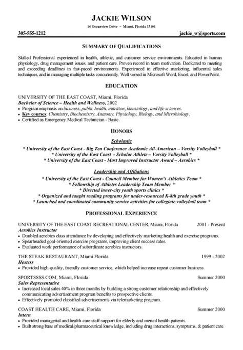 Sle Athletic Resume by Athletics Health Fitness Resume Exles Student