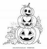 Coloring Pages Royalty Cut Pumpkins Pumpkin Outline Getcolorings Grin Outlined Lantern Stand Another Three Shutterstock sketch template