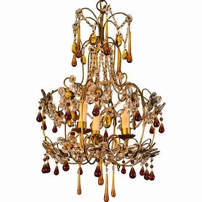 Chandelier Gold Crystal Century Mid Italian Birdcage