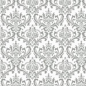 Gray Traditions Damask Fabric by the Yard | Gray Fabric ...