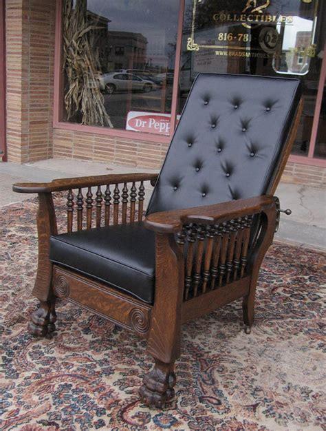 antique recliner chair quartersawn oak claw foot morris chair 1295