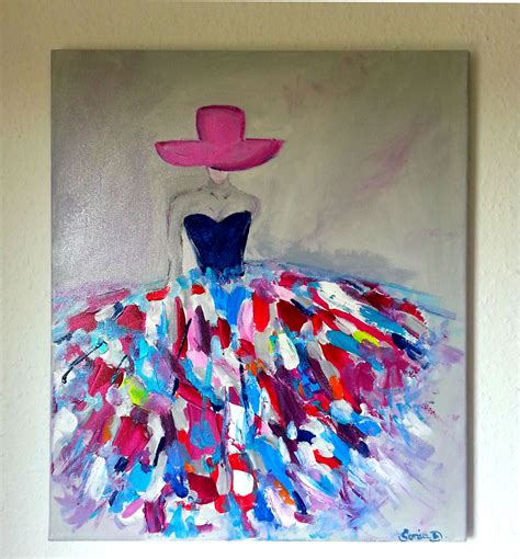 le bureau thionville tableau moderne femme robe coloree sur toile 55x46