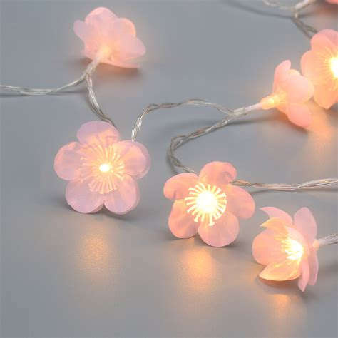 battery powered 3d pink flower blossom 7 22 ft string