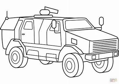 Coloring Military Pages Vehicles Vehicle Mrap Armored