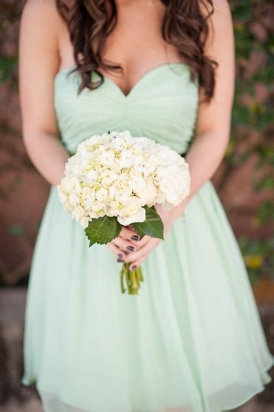 Mint Green Bridesmaids Dresses With Simple White Bouquet