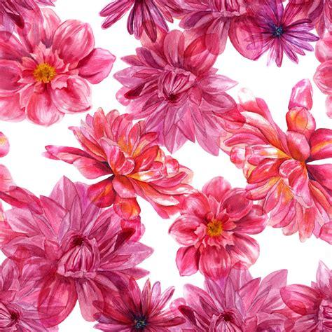 watercolor purple dahlias seamless background pattern