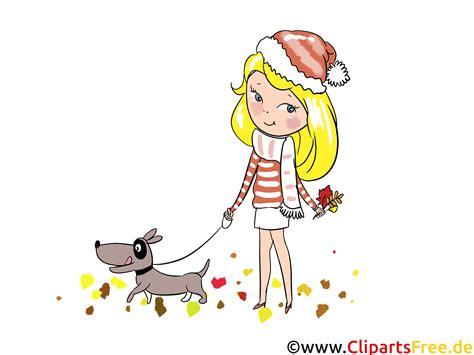 illustration maedchen spaziert mit einem hund