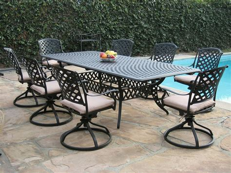 Patio Furniture Table by Cast Aluminum Patio Furniture 9 Pc Extension Dining Table