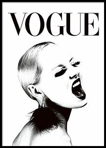 Black and white Vogue poster with a woman. Fashion print
