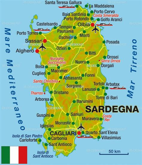 map  sardinia  major places towns
