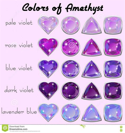 what color is amethyst colors of amethyst stock vector illustration of different
