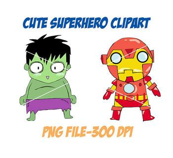 cute superhero clipart png file  dpi  luckyline tpt