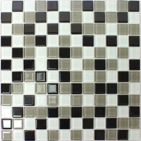 Self Adhesive Glass Mosaic Tiles Black Grey Tm33436