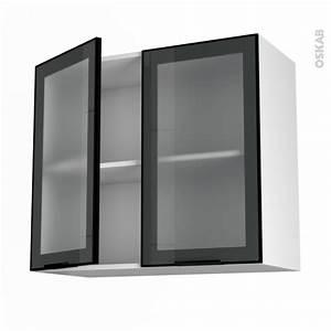 Meuble Haut Cuisine Vitré : meuble de cuisine haut ouvrant vitr fa ade noire alu 2 portes l80 x h70 x p37 cm sokleo oskab ~ Teatrodelosmanantiales.com Idées de Décoration
