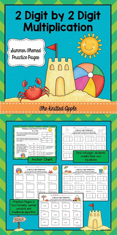 2 Digit By 2 Digit Multiplication Using Partial Products {summer Theme} Multiplication
