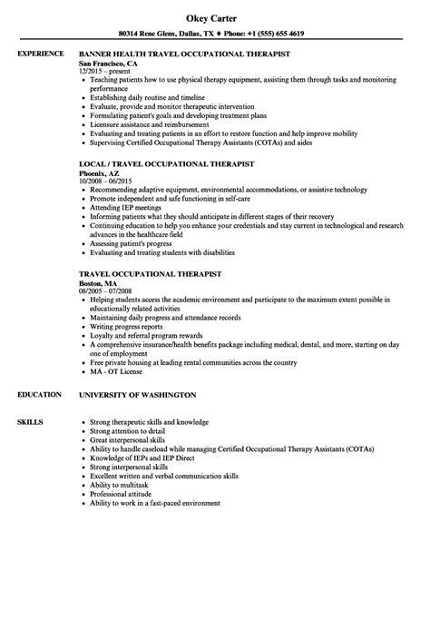 travel occupational therapist resume sles velvet
