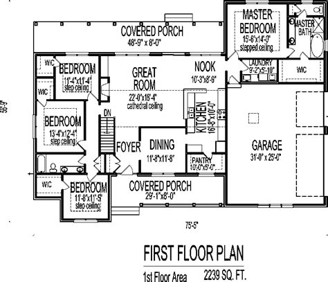 single story 4 bedroom house plans low cost single story 4 bedroom house floor plans country