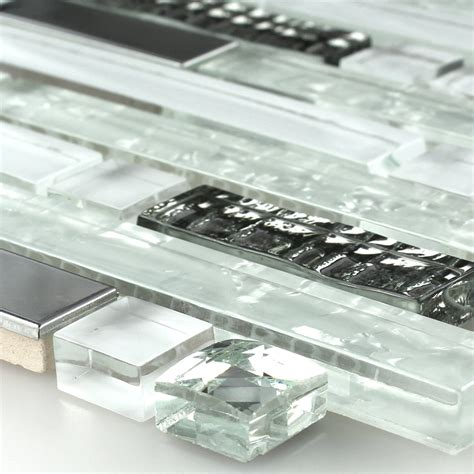 Clear Glass Stainless Steel Mosaic Tiles White Diamant eBay