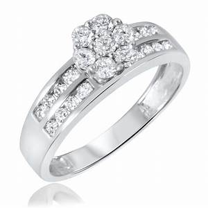 1 1 2 ct tw diamond trio matching wedding ring set 14k With matching wedding rings white gold