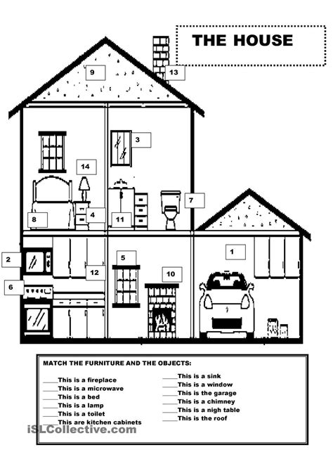 furniture   house worksheets house english lessons