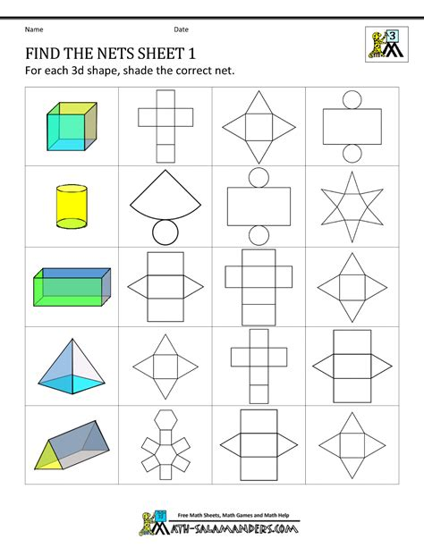 net shapes worksheet geometry nets information page