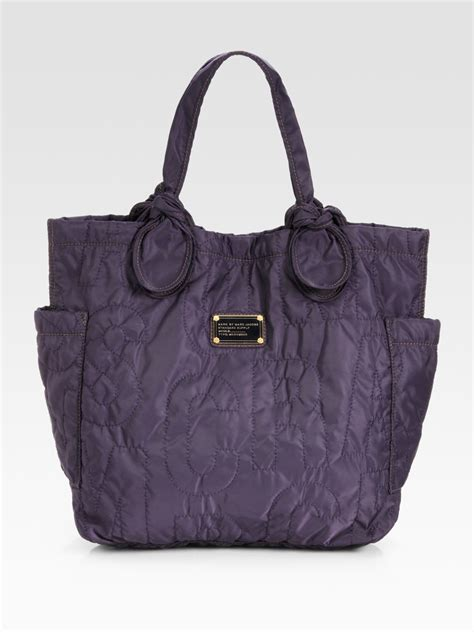 marc  marc jacobs pretty nylon medium tate tote bag  purple midnightpurple lyst