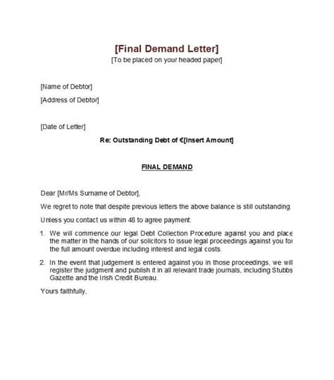 demand letter  payment  technical resume