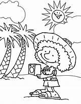 Coloring Tourist Beach Hawaii Cartoon Coloringsun Princess Disney sketch template