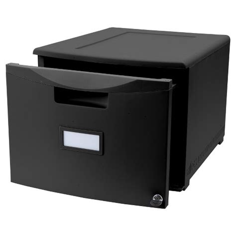 storex 174 mini file cabinet with lock one drawer black