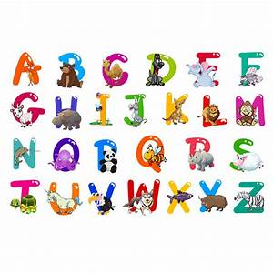 A z alphabet animals letters english vinyl mural wall