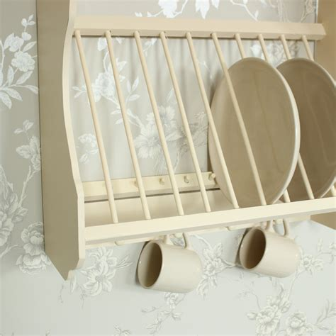 cream wooden plate rack  hooks melody maison