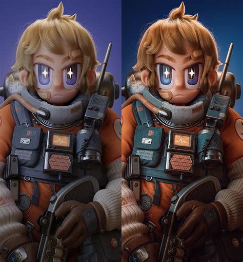 model  anime style space cadet  blender dtotal