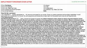 Freight forwarder cover letter sample template format for Freight forwarders settlement letter