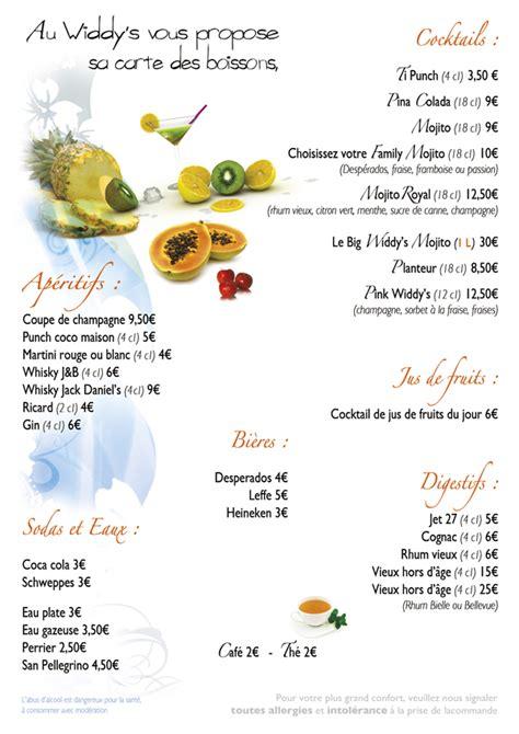 Carte Des Vins Boissons by Notre Carte Restaurant Au Widdy S