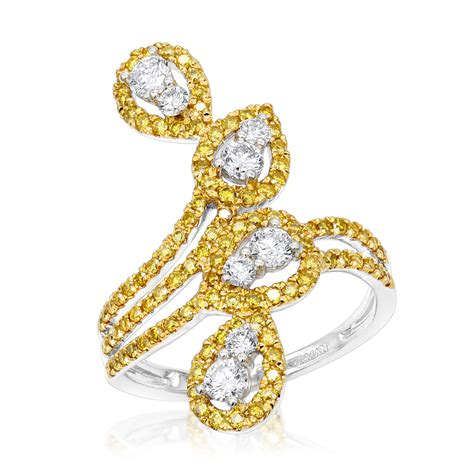 gold white yellow diamond cocktail ring  women
