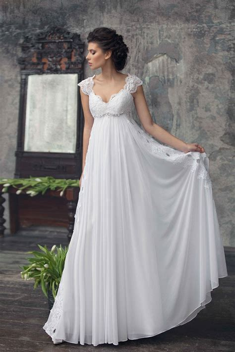 lace cap sleeve top ivory empire floor length chiffon wedding dress topbridal co nz