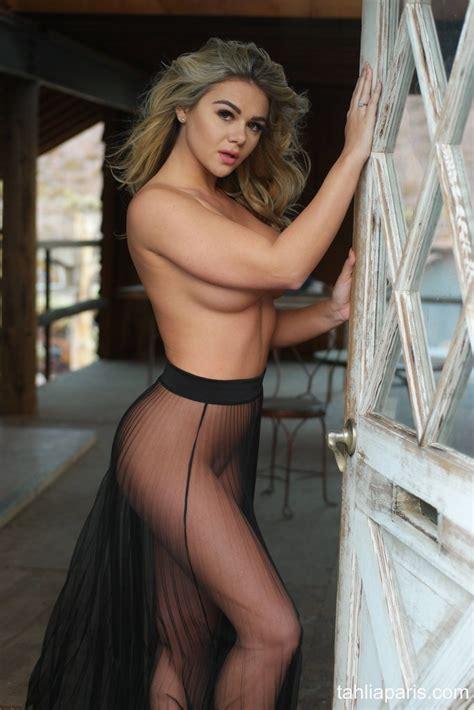 Tahlia Paris Shows Boobs Wearing See Through Skirt